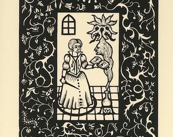 Summoning Lovecraft Mythos Magician woodcut print 11 x 14