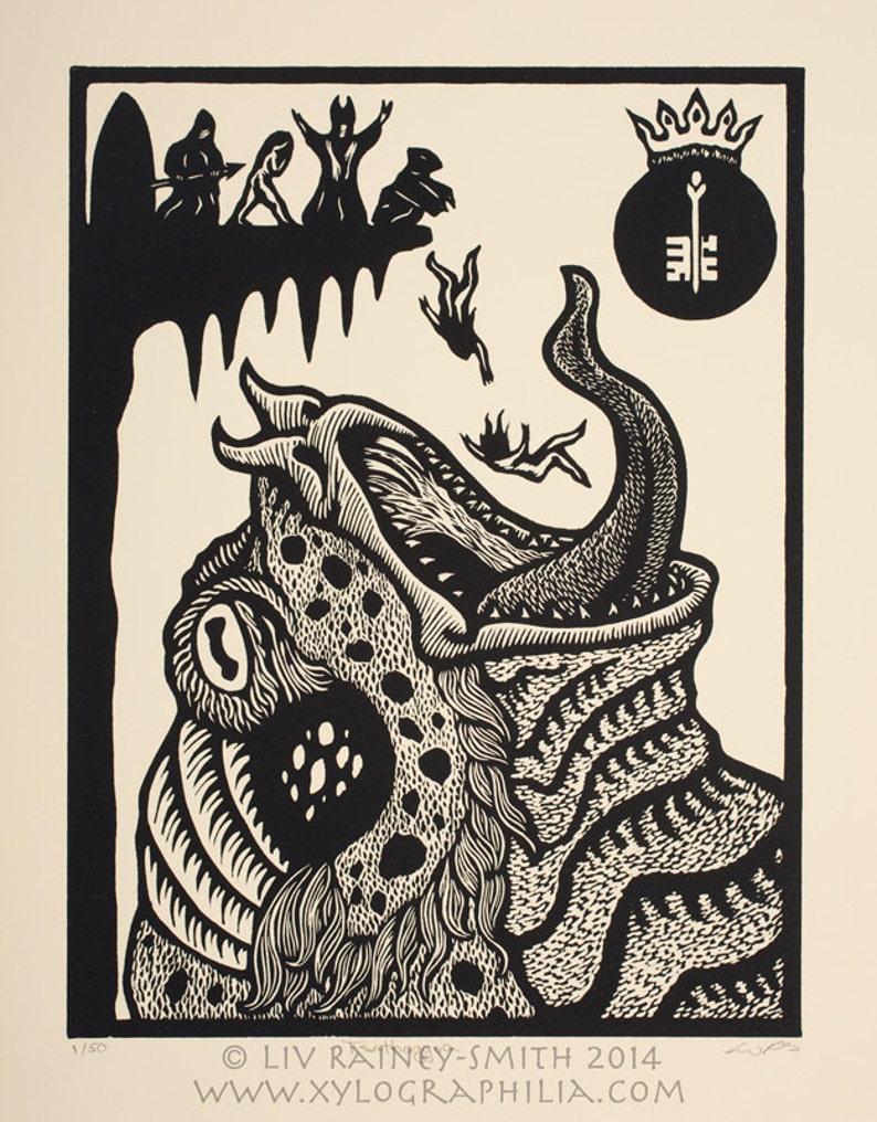 Tsathoggua Toad God Necronomicon woodcut print 11 x 14
