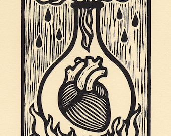 Ardor heart fire woodcut print