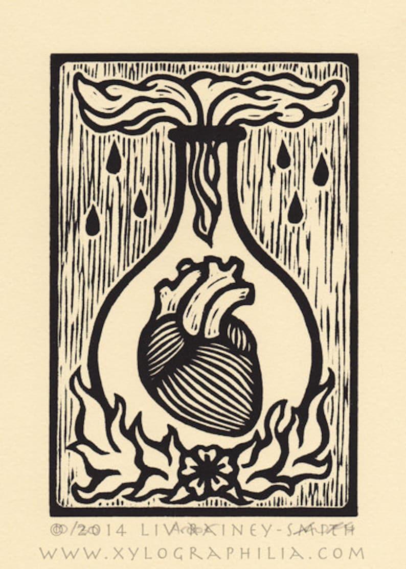 Ardor heart fire woodcut print image 0