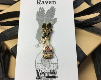 Raven heart key enameled artist lapel pin