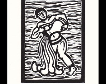 Aquarius Zodiac astrological woodcut print hand pulled print 6 x 5