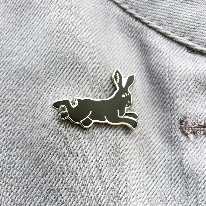Hare Black Rabbit enamel artist lapel pin Nickel-free image 0