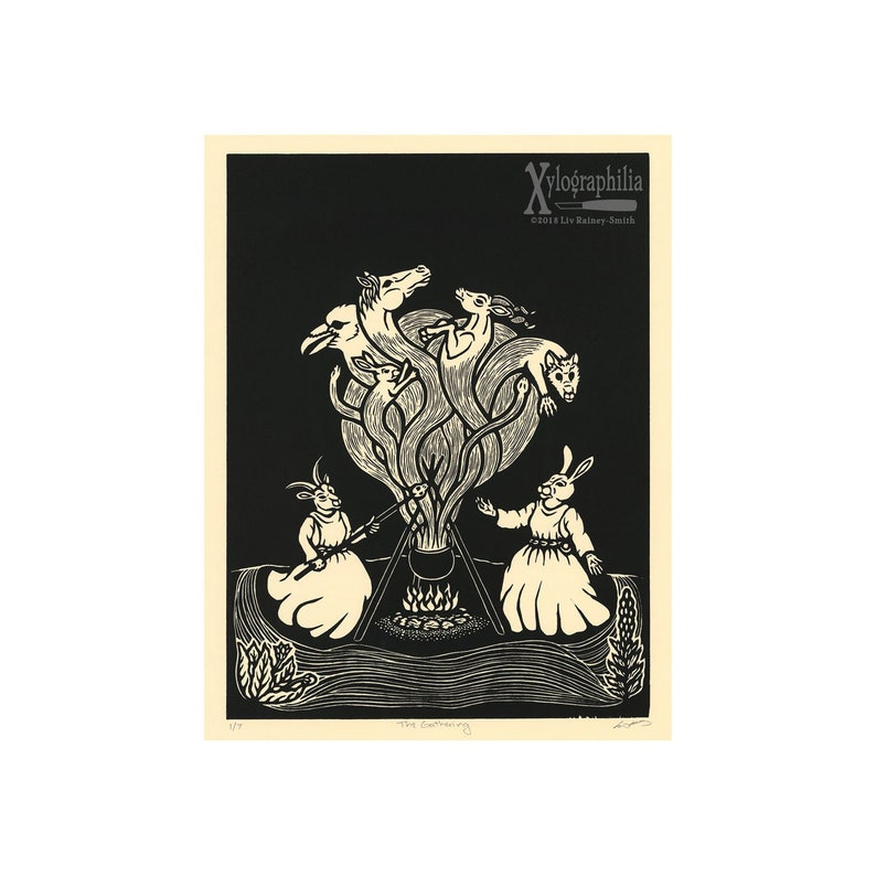 The Gathering limited edition woodcut print image 0