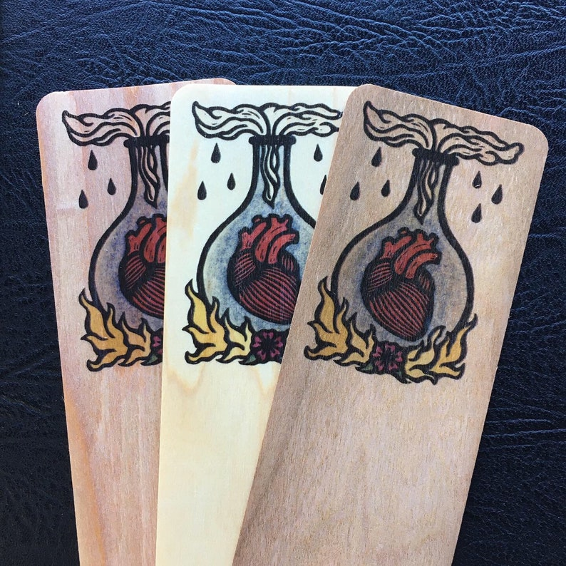 Ardor heart art bookmark cedar cherry or maple 6 x 2 inches image 0