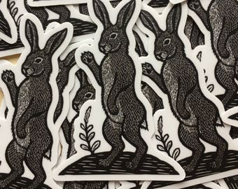 Rabbit Hare sticker indoor/outdoor vinyl