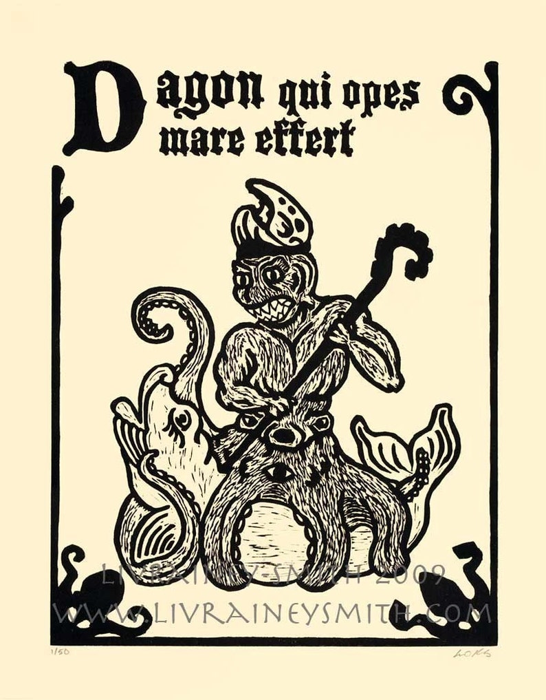 Dagon fish god woodcut print necronomicon page image 0