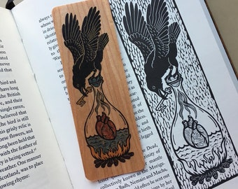 Raven heart woodcut art bookmark 6 x 2 inches
