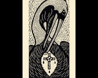 Pelican woodcut limited edition Arcanum Bestiarum bestiary print