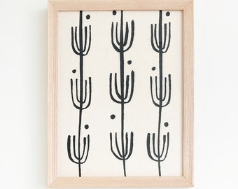 Saguaro | Framed Textile 9x12 - framed textile - wall art - screen print - hand drawn - gallery wall - home decor - living room