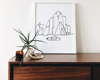 Minimalism & Moonbeams | 16 x 20 Screen Print (unframed)  wall art - screen print - hand drawn - gallery wall - home decor - living room
