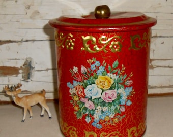 Vintage Red Flower Tin,  Flowered Container