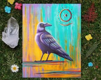 8x10 giclée print, raven painting, crow painting, pagan art, abstract, nature art