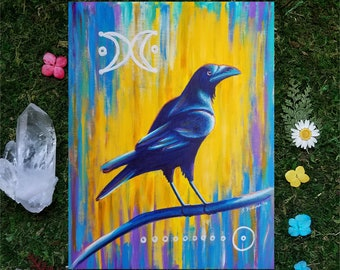 8x10 photographic print, raven painting, crow painting, pagan art, nature art, abstract