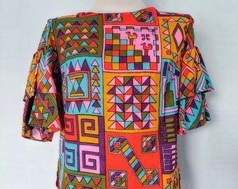 1960s Bright Colors Psychedelic Print Top with Ruffle Sleeves