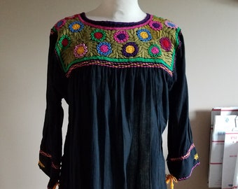 Black and Rainbow Embroidered Mexican Boho Peasant Top