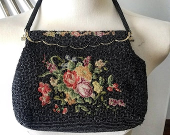 Black Beaded and Floral Fabric Evening Bag