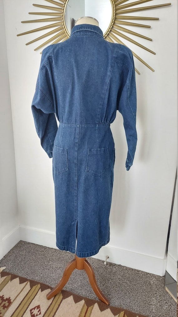 1980s Dark Wash Denim Dress with Loads of Pockets - image 3