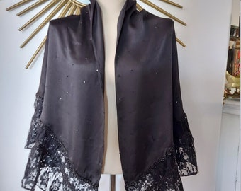 Black Silk Sequins and Lace Gothic Shawl