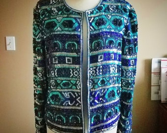 Gorgeous Royal Blue and Real Sequins and Beaded Evening Jacket