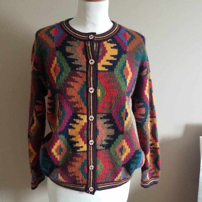 Multi Color Southwestern Print Cardigan Sweater