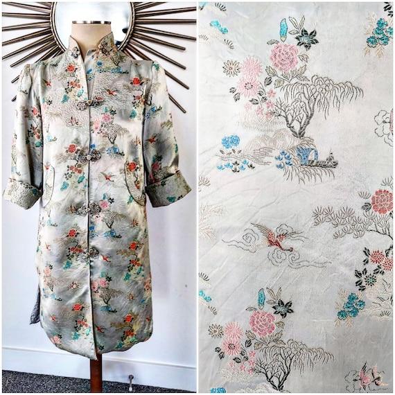 Mint Green Silk Chinese Robe Jacket Lounge Wear Ki