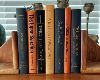 Set of 7 Black and Orange Spooky Theamed Hardback Books for Halloween Display