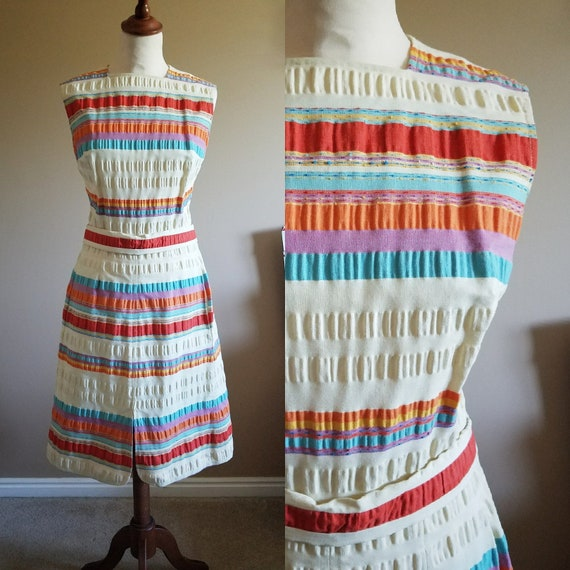 60s Cotton Stripe Puckered Sun Dress Day Dress Par
