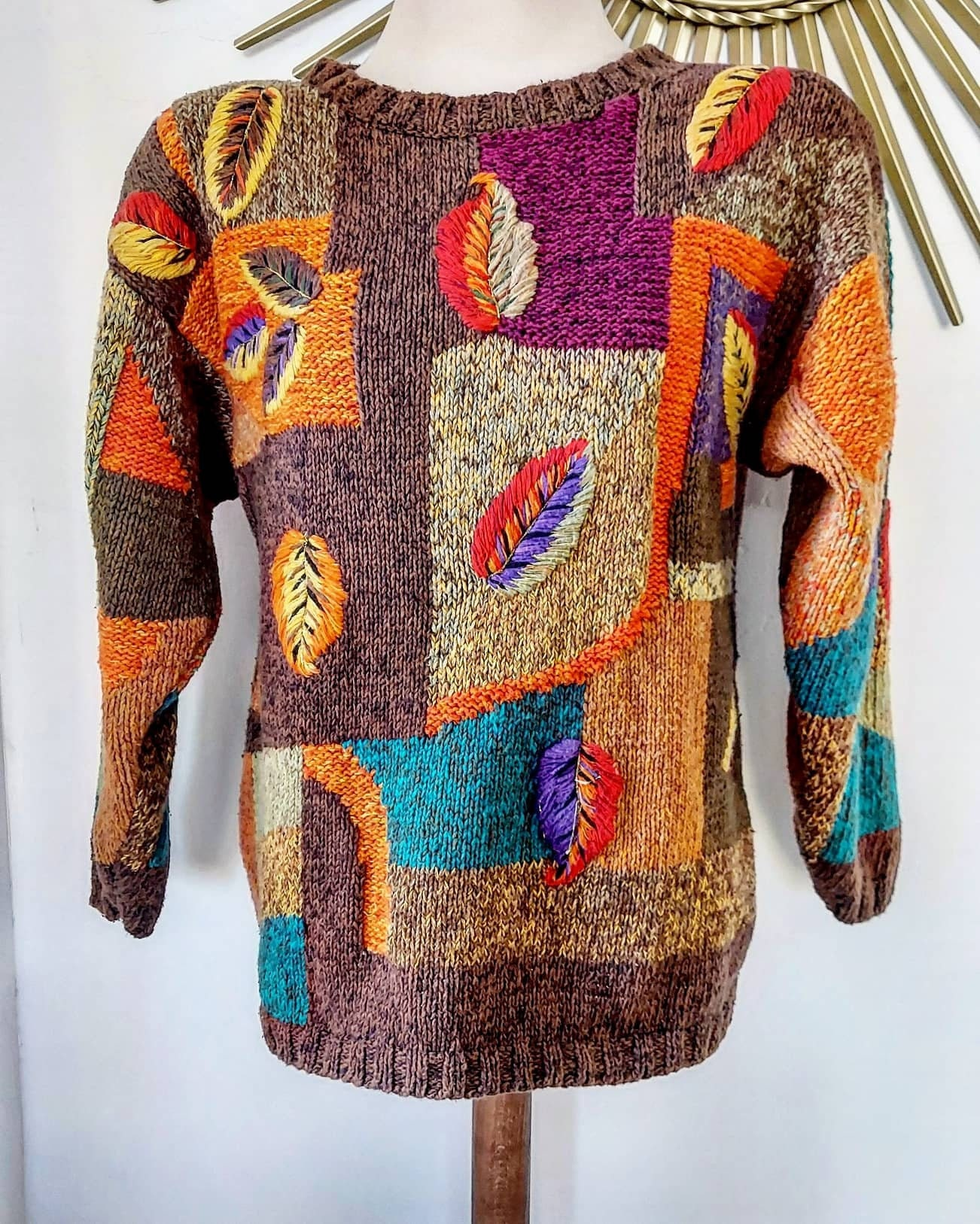 80s Sweatshirts, Sweaters, Vests | Women Fall Colors Chunky Knit 1980S Sweater $48.00 AT vintagedancer.com