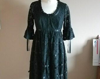 Betsey Johnson Baby Doll Lolita Black Lace Goth Dress