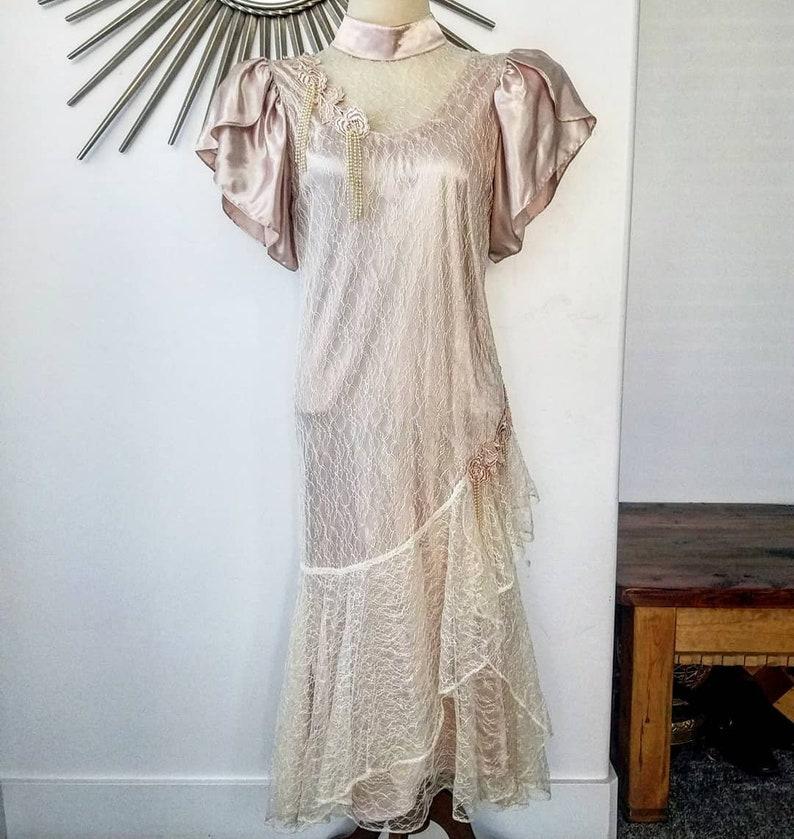 1980s Cream Lace Drop Waist Flapper Style Costume Prom Dress