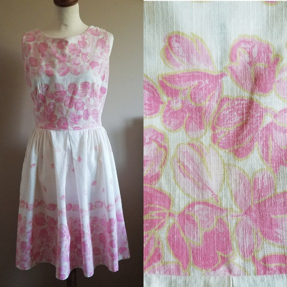 1960s Pretty Pastel Pink Floral Summer Day Dress