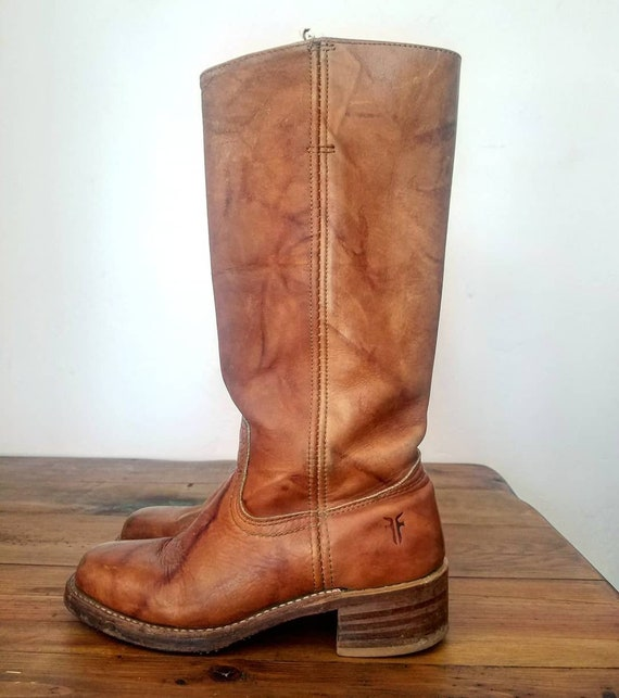 1970s Caramel Brown Leather  FRYE Campus Boots 6.5