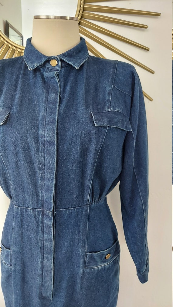 1980s Dark Wash Denim Dress with Loads of Pockets - image 4