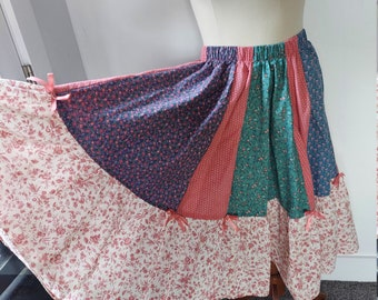 OOOAK All Floral Cottege Core Swing Skirt