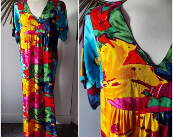 Bright Color Floral Kaftan Muumuu Maxi Dress Plus Size
