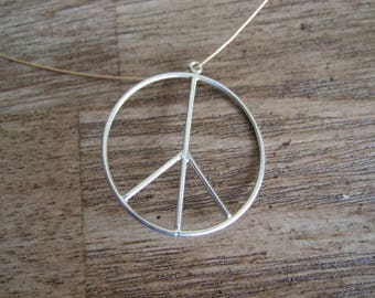 Large Peace Sign charm or pendant - Antiqued Sterling Silver - 28mm round