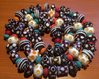 SOLD-Huge Lot of 95 Lampwork Glass Beads - Chocolate& Candy - DESTASH