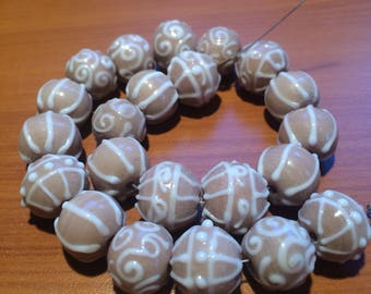 Lot of 22 Lampwork Glass Beads - Beige Bliss - DESTASH
