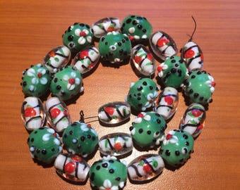 Lot of 27 Lampwork Glass Beads - Beige Bliss - DESTASH