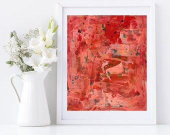 Red Crimson Abstract Painting Print, Living Room Art, Bold Colorful Print, Katie Jeanne Wood