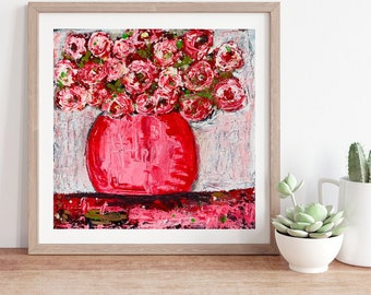 Pink Roses Floral Unframed Painting Print No 36