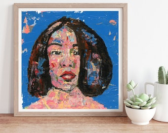 Colorful Palette Knife Portrait Painting Print, Unframed Living Room Wall Print, Peace & Calm