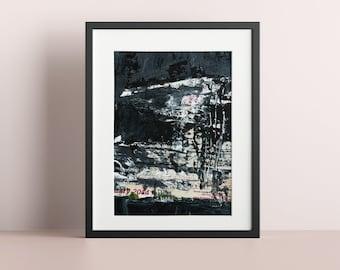 Contemporary Black White Gray Modern Abstract Print, Living Room Wall Art Print
