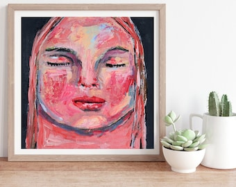 Colorful Sleeping Child, Whimsical Portrait Painting Print, Unframed Living Room Wall Print