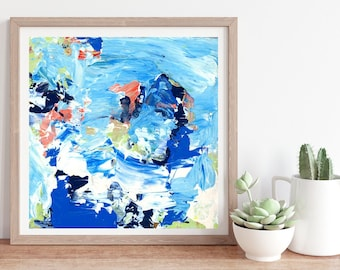 Blue Modern Abstract Wall Decor, Blue Abstract Painting Print, Abstract Wall Art