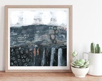 Black White Blue Gray Modern Abstract Print, Living Room Wall Art, Unframed Print