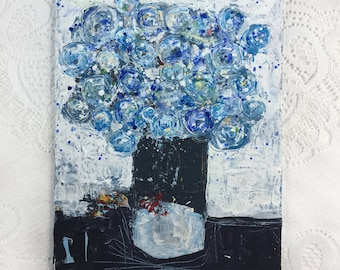 Blue Roses Palette Knife Flower Painting, Original Blue Roses Floral Painting, Katie Jeanne Wood No 342
