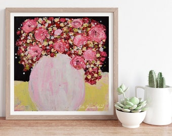 Pink & Red Roses Flower Unframed Print, Floral Painting No 229
