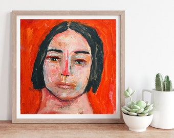 Unframed Red Whimsical Portrait Painting Print, Living Room Canvas Print, Many Sizes